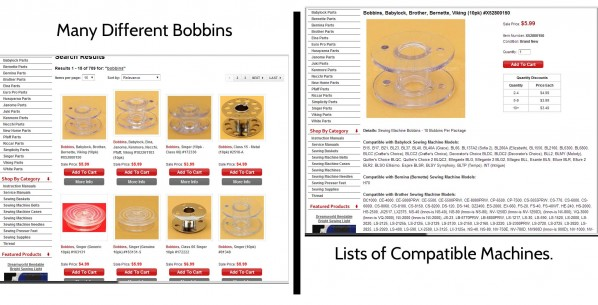 Bobbins list of machines compats