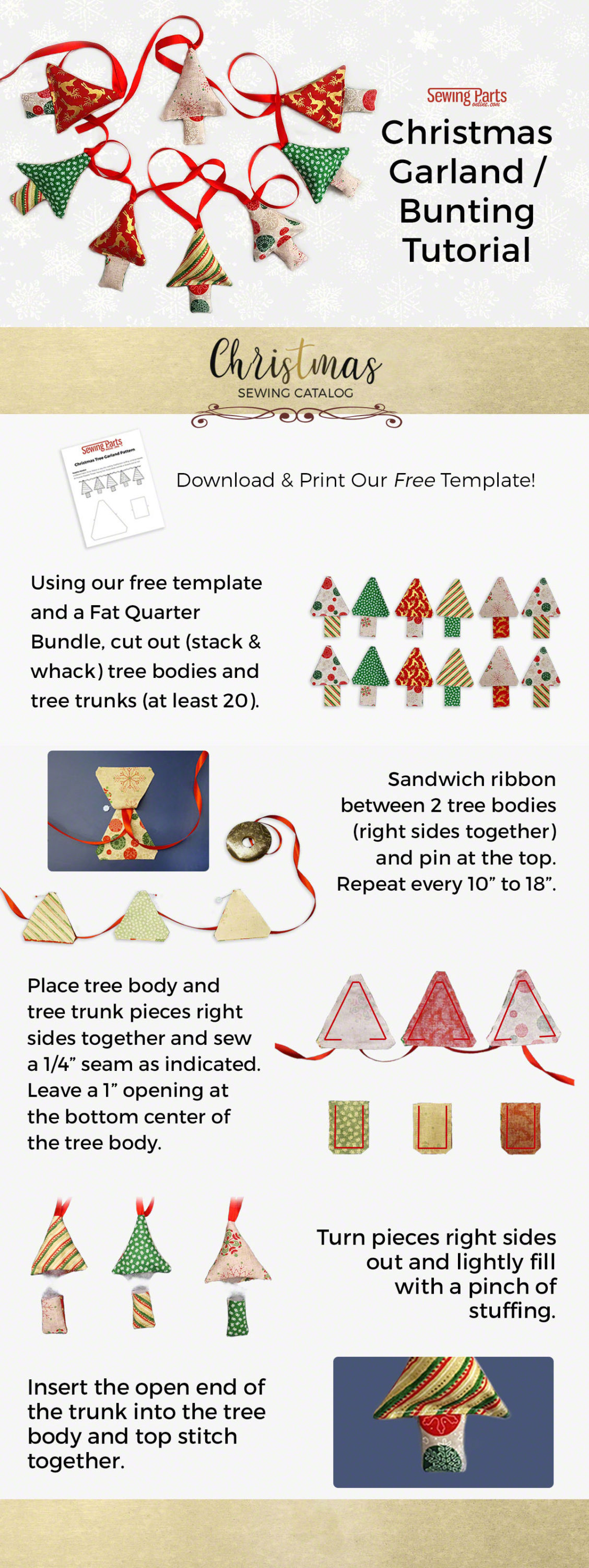 Christmas Fabric Garland Bunting Tutorial Sewing Parts Online Everything Sewing Delivered Quickly To Your Door