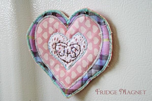 sewing parts online heart scraps fridge magnet