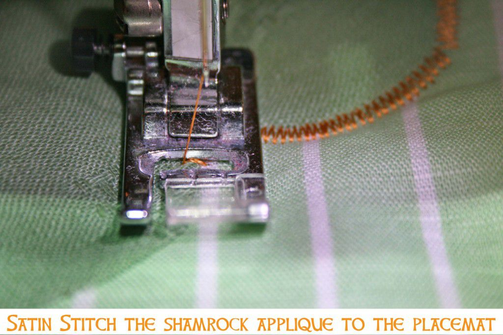 St Patrick's Day Shamrock Placemats Sewing Parts Online Gorgeous How To Make A Satin Stitch On A Sewing Machine