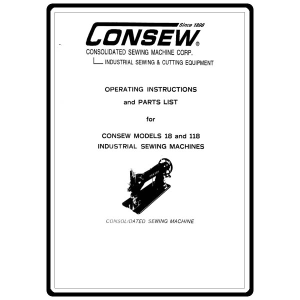 instruction manual  consew 118   sewing parts online
