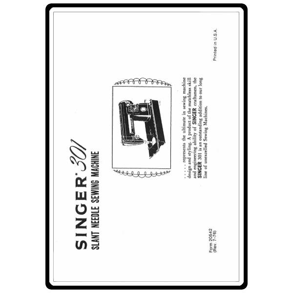 instruction manual  singer 301a   sewing parts online