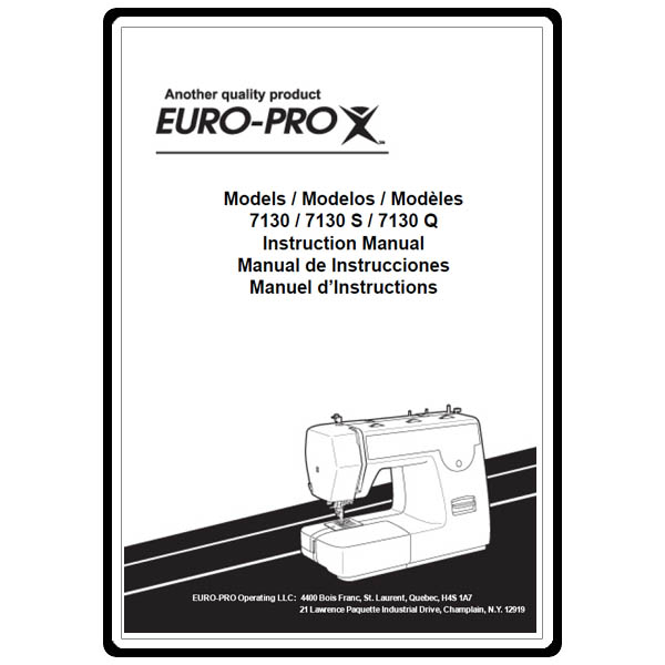 Instruction manual euro pro 7130 sewing parts online for Euro pro craft n sew