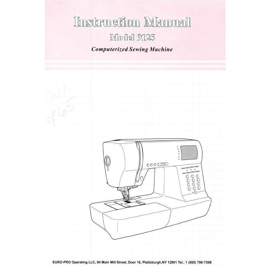 Instruction Manual, Euro Pro 9125 : Sewing Parts Online